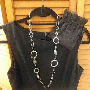 Silver bead and shell long necklace